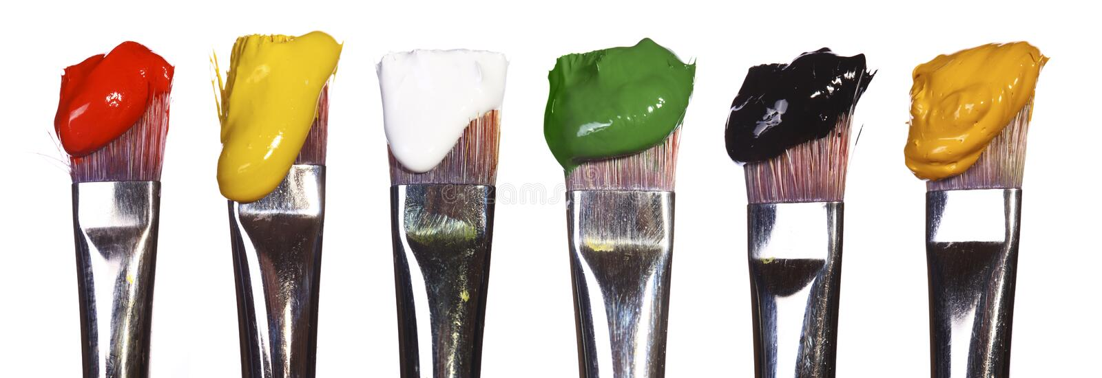 Brushes with paint stock photo