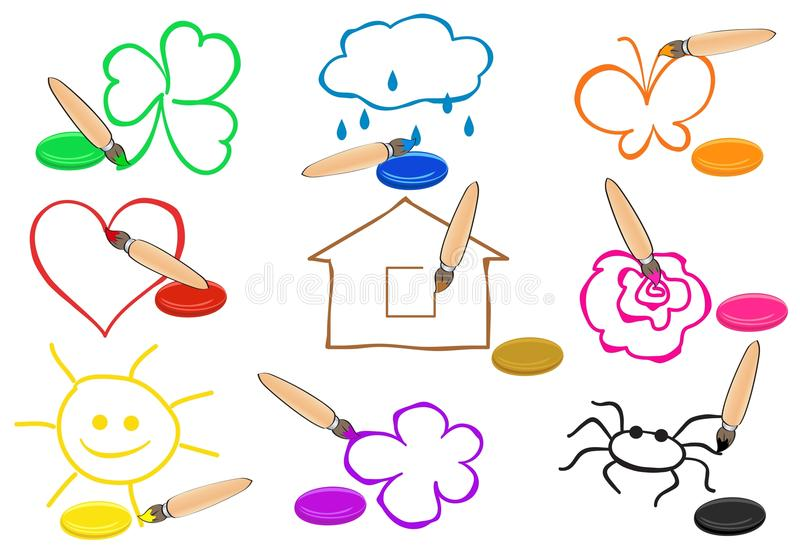 Brushes and paint of different colors painting sim stock illustration