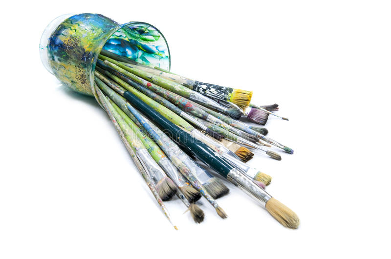 Brushes for painting. Different brushes for fine art isolated stock images