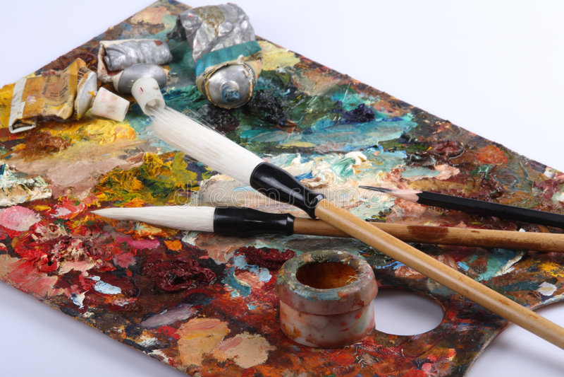 brushes paletten arkivbilder