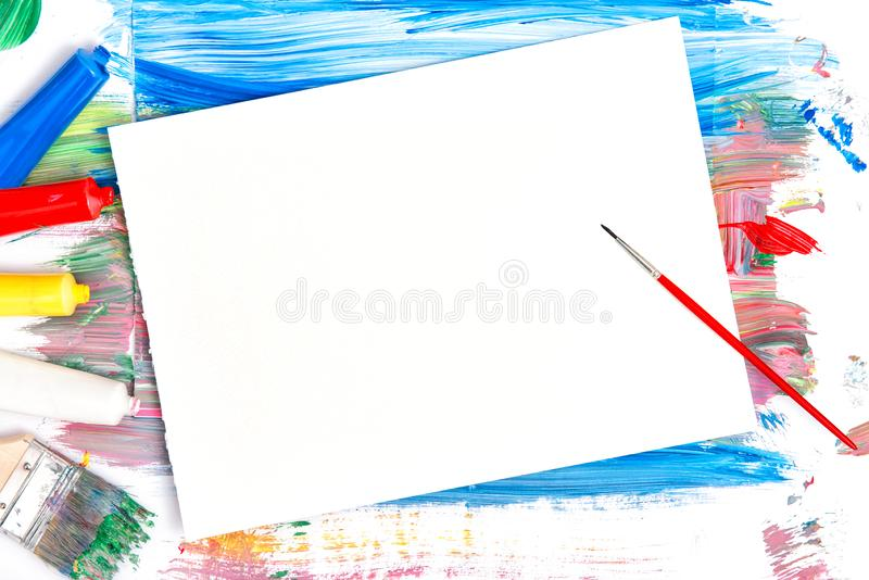 Brushes paper colors sketchbook Creative mockup art background acrylic painting stock images