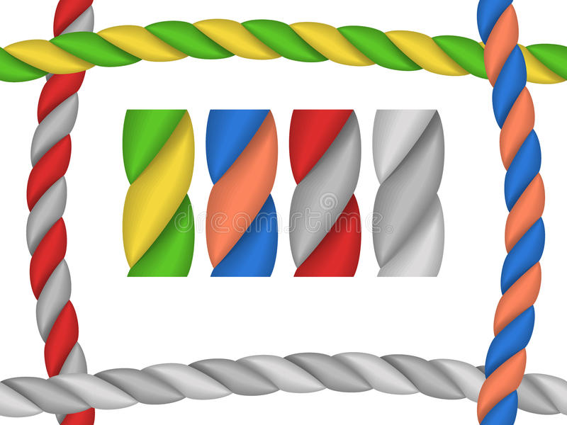Brushes ropes for frame. Brushes in the form of ropes for frame - a vector illustration