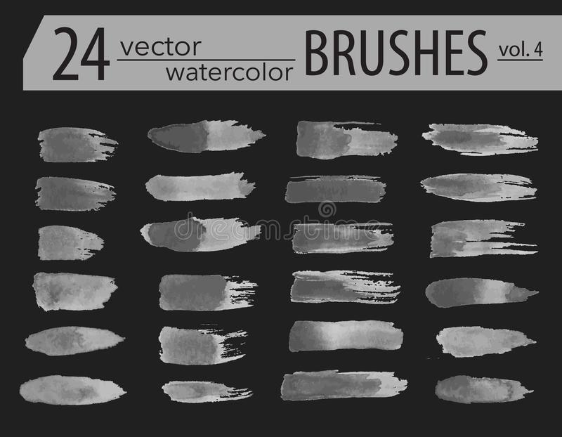 Brushes. Set of dry ink paint. Grunge textured artistic strokes, isolated on white background. Stripe paintbrush collection. royalty free illustration