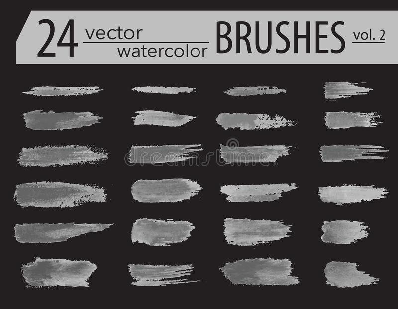 Brushes. Set of dry ink paint. Grunge textured artistic strokes, Vector design. Hand drawn brushes. isolated on black background. vector illustration