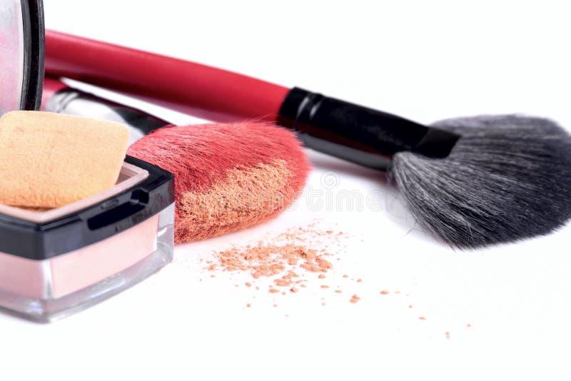 Brushes synthetic pile working powder make-up isolated on white background. Brushes synthetic pile working powder make-up isolated on white background stock photo