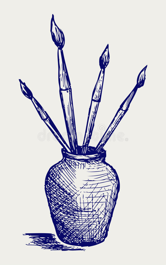 Download Brushes In Vase Stock Photo - Image: 28179280