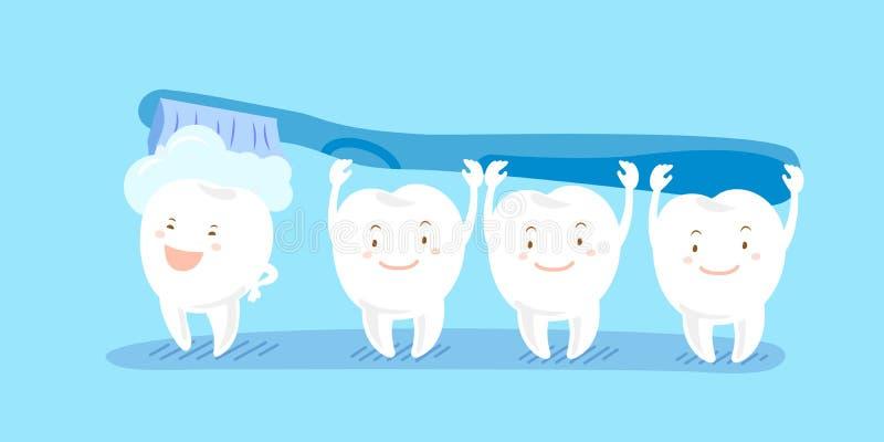 Brushing cute cartoon teeth stock illustration