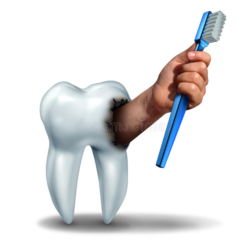 Brushing Teeth concept. As a human tooth with a cavity as a hand emerging out holding a generic toothbrush or tooth brush as a dental health care symbol for stock illustration