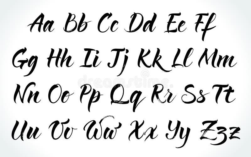 Brushpen lettering vector alphabet stock