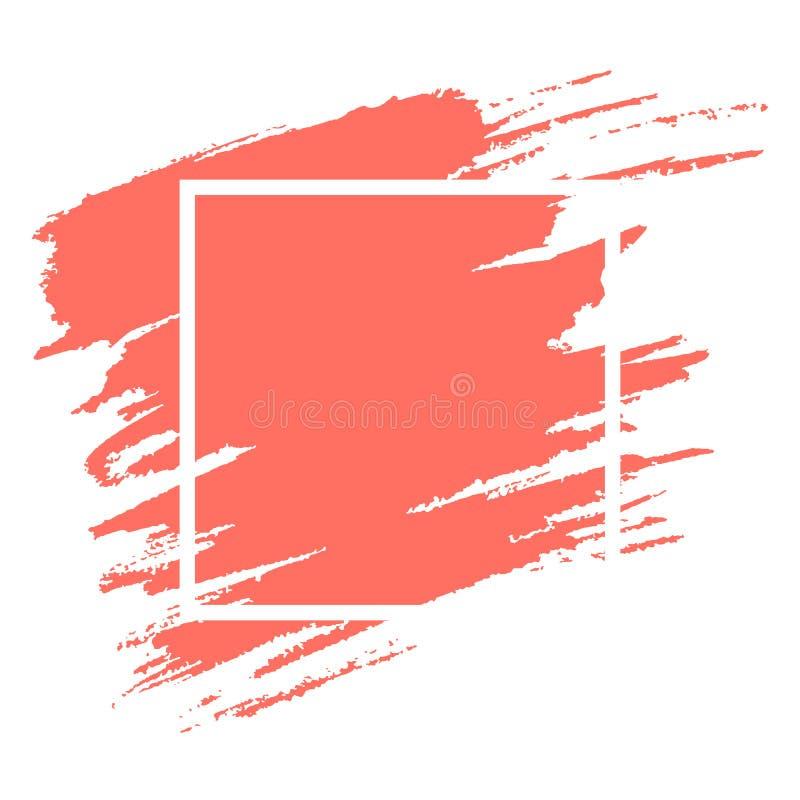 Brushstroke коралла акварели с шаблоном вектора рамки бесплатная иллюстрация