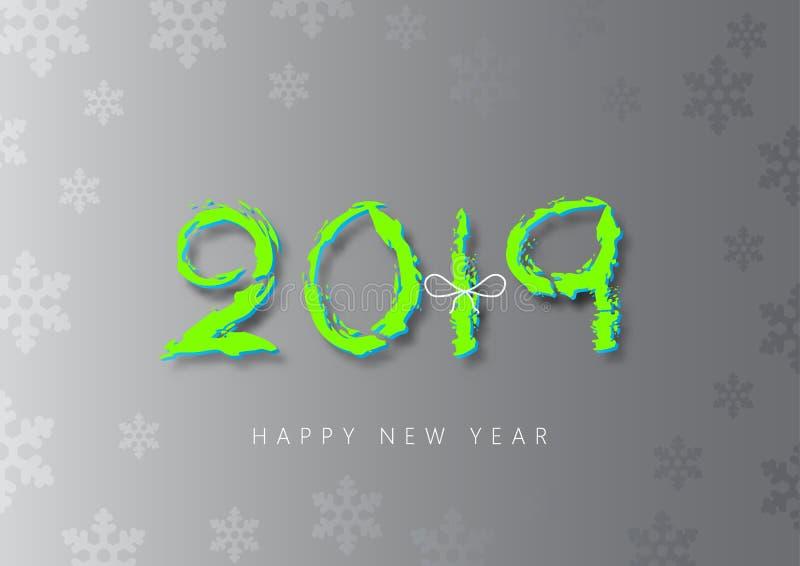 Brushstroke на Новом Годе 2019 серебряной предпосылки счастливом иллюстрация штока