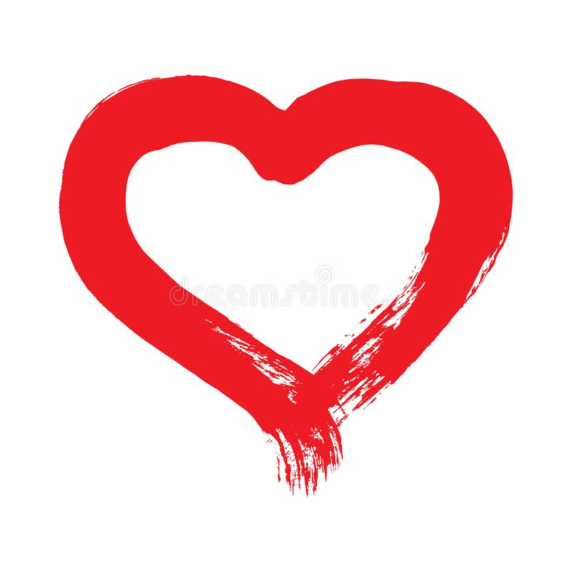 Brushstroke покрасил красную форму сердца иллюстрация штока