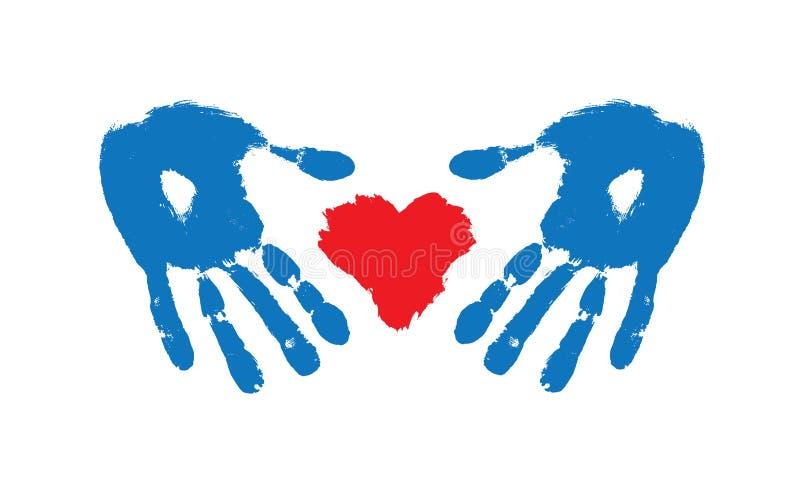 Brushstroke покрасил красные сердце и руки бесплатная иллюстрация