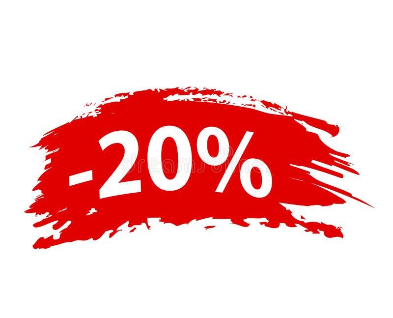 ` 20% Brushstroke с бирки скидки предложения красного цвета ` установленной, иллюстрации вектора запаса иллюстрация штока