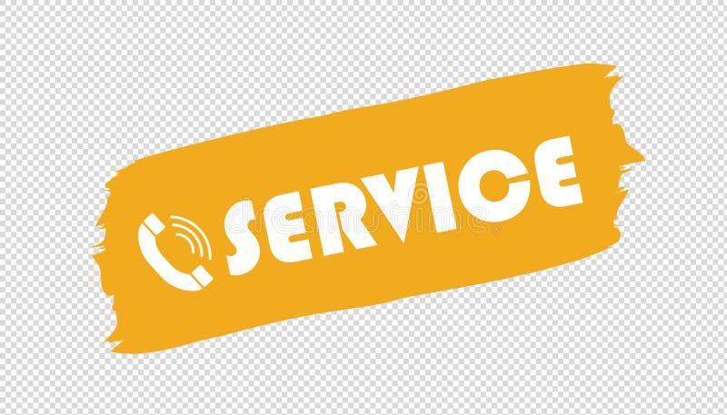 Brushstroke телефона обслуживания - желтая иллюстрация вектора - изолированный на прозрачной предпосылке бесплатная иллюстрация