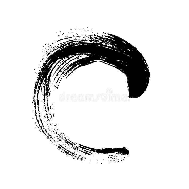 Brushstroke черного grunge круглый иллюстрация вектора