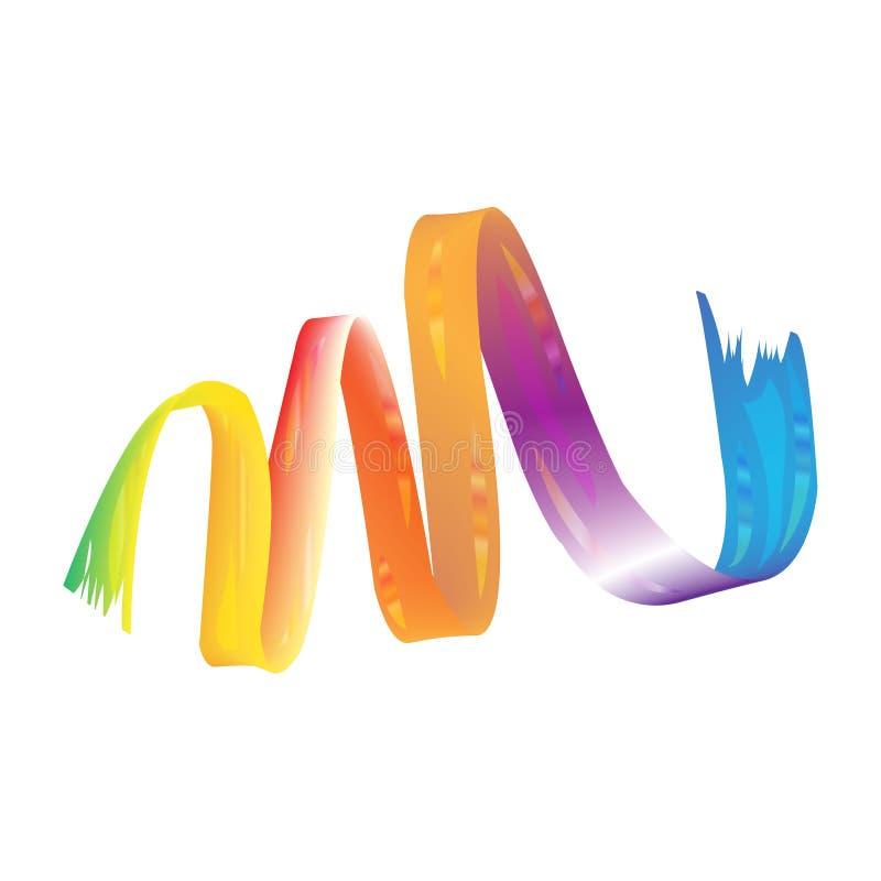 Красочный brushstroke подачи Линия изолированная лентой Реалистическая волна тома Жидкостная форма чернил краски изолированная на бесплатная иллюстрация