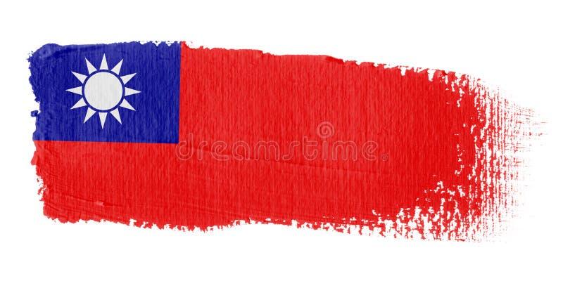 brushstroke banderą do tajwanu royalty ilustracja
