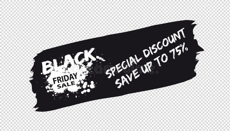 Brushstroke Black Friday sprzedaży sztandar Odizolowywający Na Przejrzystym tle - Wektorowa ilustracja - ilustracja wektor