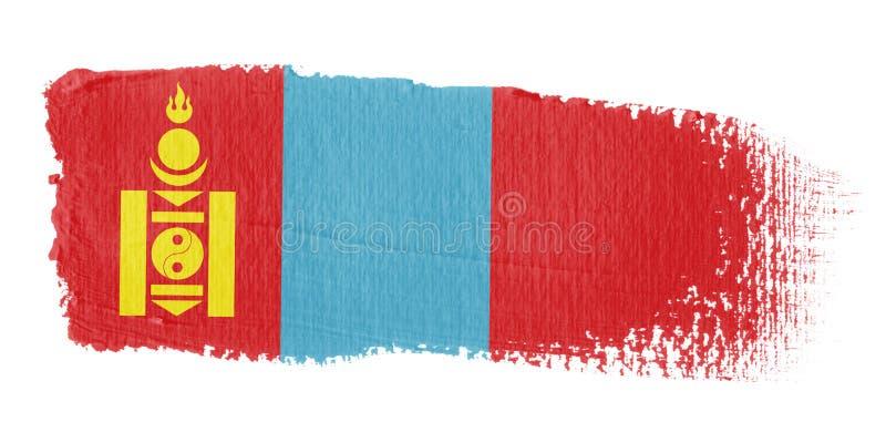 Brushstroke Flag Mongolia vector illustration
