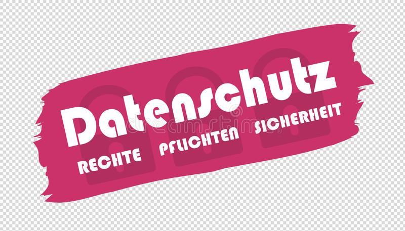 Brushstroke German Data Protection Rights Duties Safety - Vector Illustration royalty free illustration