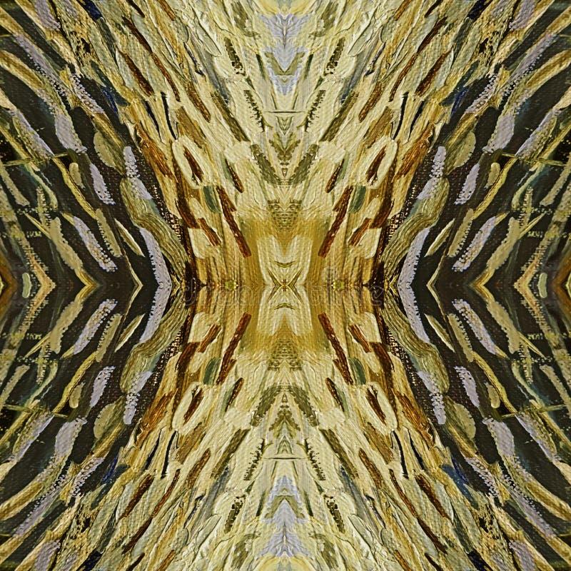 Brushstrokes żółta nafciana farba na kanwie abstrakcyjny tło zdjęcia royalty free