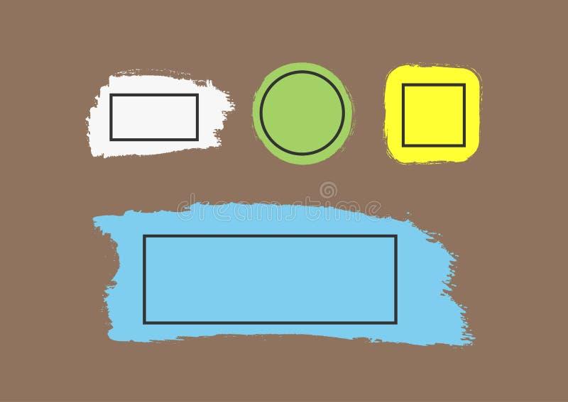 Brushstrokes с рамками для текста Комплект предпосылок grunge цвета иллюстрация вектора