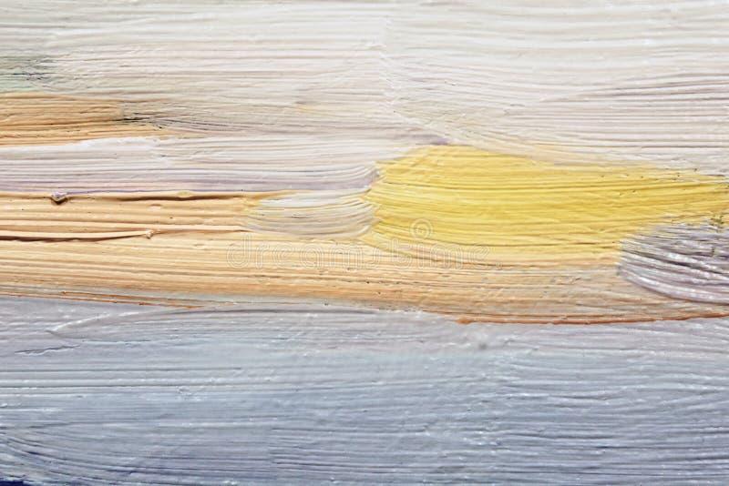 Brushstrokes błękitna i żółta nafciana farba na kanwie sztuki tła internetów ewentualni projekty używać obrazy stock
