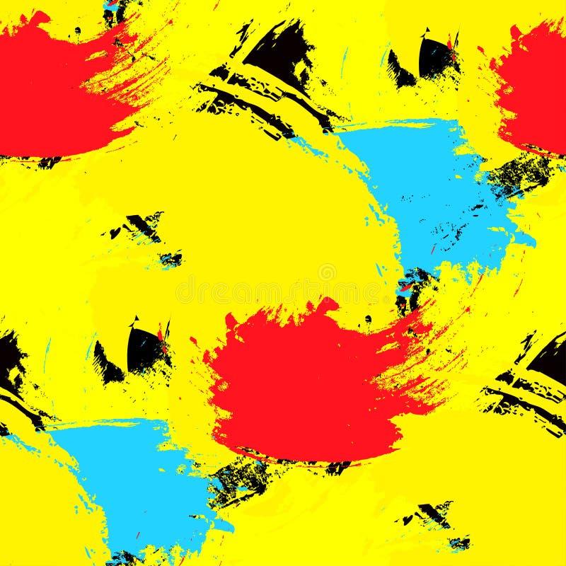 Brushstrokes bezszwowy wzór Jaskrawi kolory Wektorowy tło royalty ilustracja
