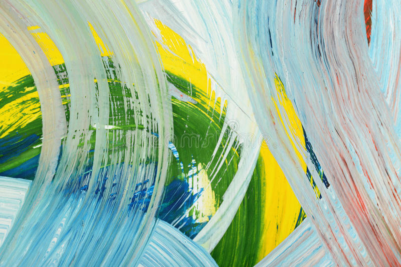 Brushstrokes of paint. Abstract art background. Oil painting on canvas. Multicolored bright texture. Fragment of artwork royalty free stock photo