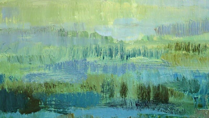 Brushstrokes zielenieją nafcianą farbę na kanwie abstrakcyjny tło obraz royalty free