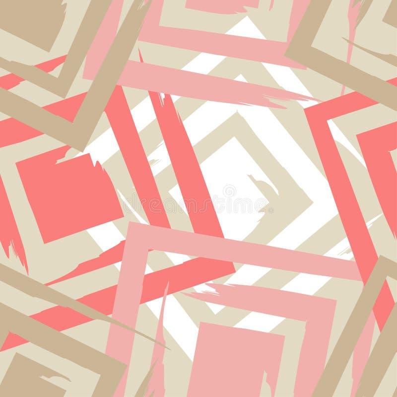 brushwork Nahtloses geometrisches Muster Helle Farben und einfache Formen lizenzfreie abbildung