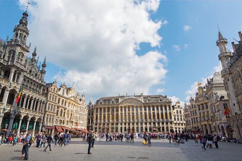 Brussel - belangrijkste vierkante Grote Markt stock afbeeldingen