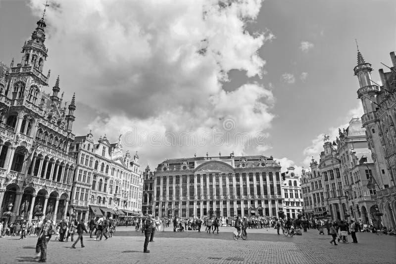 Brussel - belangrijkste vierkante Grote Markt stock foto's