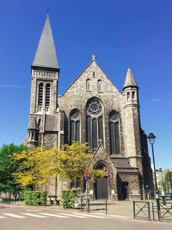 """Brussel, België †""""5 Mei, 2018: de kerk Eglise heilige-Francois-Xavier in Brussel, Anderlecht royalty-vrije stock foto"""