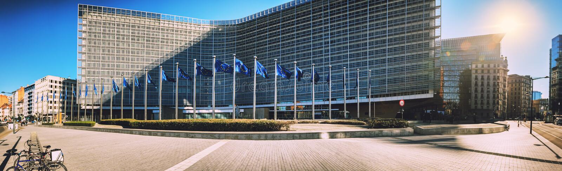 Brussel, België - 25 Februari 2018: De Europese Commissie Headqu stock fotografie