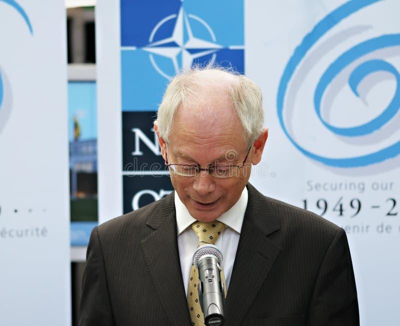 Herman Van Rompuy bij het openen van het Dorp van de NAVO royalty-vrije stock afbeeldingen