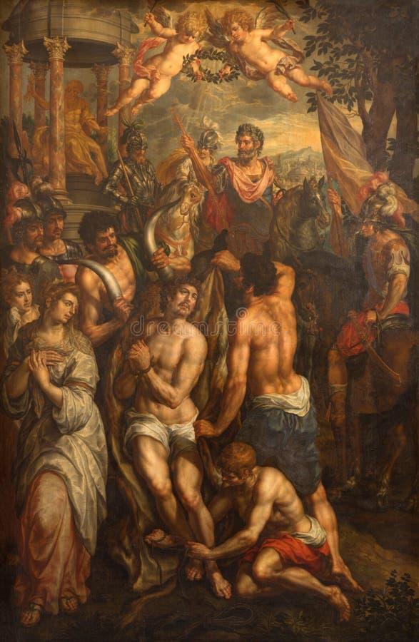 BRUSSEL, BELGIË - JUNI 15, 2014: Het schilderen van het Martelaarschap in Notre Dame de la Chapelle stock afbeeldingen