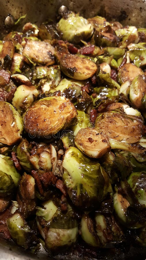 Brussel. Green brussel sprouts marinated in balsamic vinegar royalty free stock image