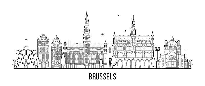 Brussel linii horyzontu Belgia miasta wektorowi budynki royalty ilustracja