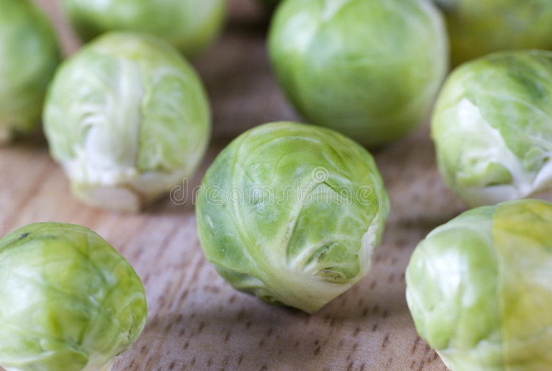 Brussel sprout. Fresh and young vegetable in wooden salver royalty free stock images