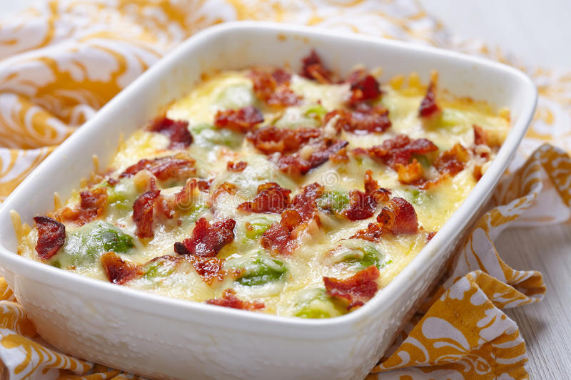 Brussel sprout casserole. Baked brussel sprout casserole with a bacon royalty free stock images
