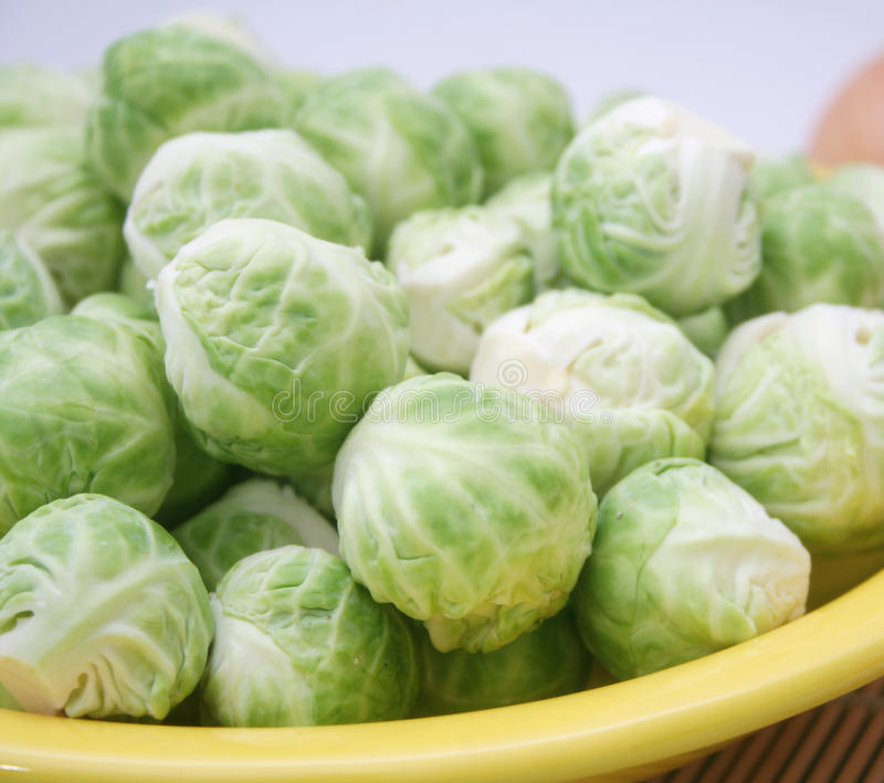 Brussel Sprouts. Some fresh raw brussel sprouts in bowls royalty free stock image