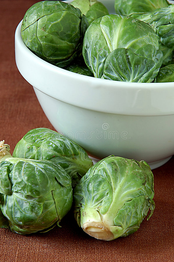 Brussel sprouts. Still life with bowl and brussel sprouts stock images