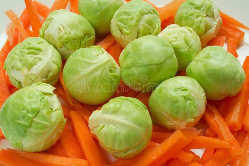 Brussel Sprouts. Christmas dinner vegetables - brussel sprouts and carrots royalty free stock photo