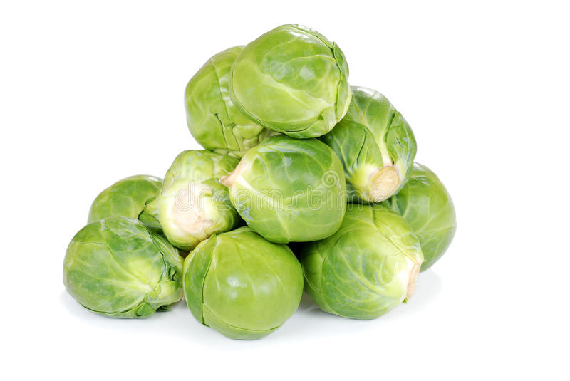 Brussel sprouts. Closeup of Brussel sprouts with white background stock image