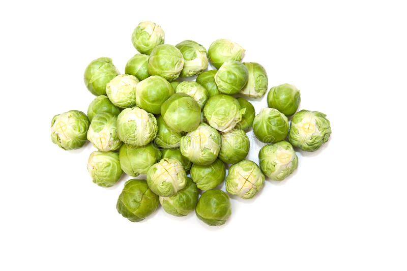 Brussel Sprouts. Isolated on white royalty free stock photos