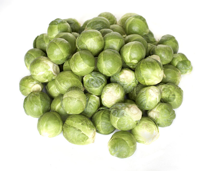 Brussel sprouts. Fresh organic Brussel sprouts on white background royalty free stock photo
