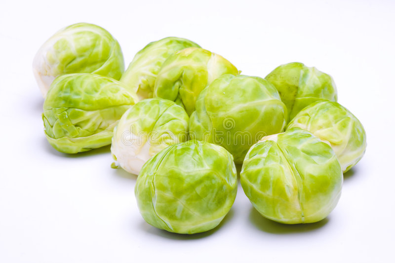 Brussel sprouts. On white background stock photography