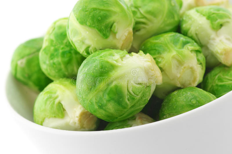 Brussel sprouts in bowl. Close-up of brussel sprouts in bowl on white background stock photo